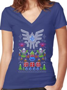 Dragon Quest Ugly Sweater Women's Fitted V-Neck T-Shirt
