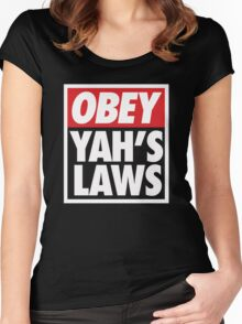 Obey Yah's Laws BLK Women's Fitted Scoop T-Shirt