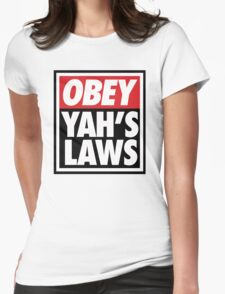 OBEY YAHS LAWS WHT SHIRT Womens Fitted T-Shirt