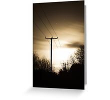 Power Masts in Moon Light Greeting Card