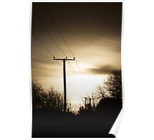 Power Masts in Moon Light Poster