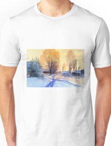 Winter light. Village. Russia Unisex T-Shirt