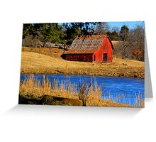 Gorgeous Red Barn, and Cobalt Blue Water. Greeting Card
