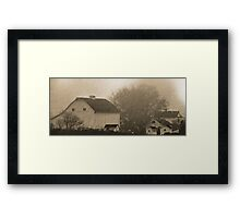 foggy farmstead 2 Framed Print