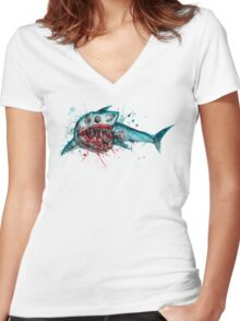 Shark Skeleton Watercolor Women's Fitted V-Neck T-Shirt