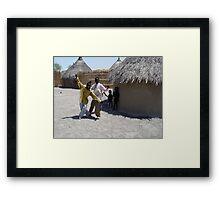 Shilluk boys near their Tukel Framed Print