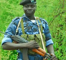 South Sudanese policeman by jvoweaver