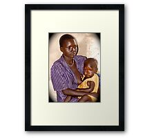 Mother with sick child Framed Print