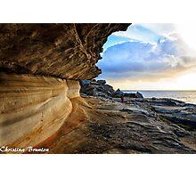 Rockface at sunrise Photographic Print