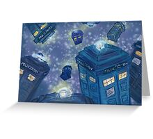 9 TARDIS flying Greeting Card
