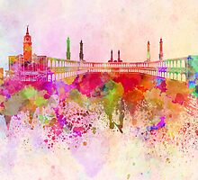 Mecca skyline in watercolor background by paulrommer