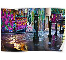 Colour on a rainy day in Hosier Lane Poster