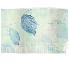Leaves in Blue Ginger Contemporary Art Print Poster