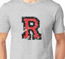 Letter R (Distressed) two-color black/red character Unisex T-Shirt