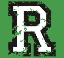 Letter R (Distressed) two-color black/white character by theshirtshops
