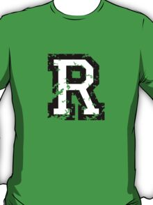 Letter R (Distressed) two-color black/white character T-Shirt