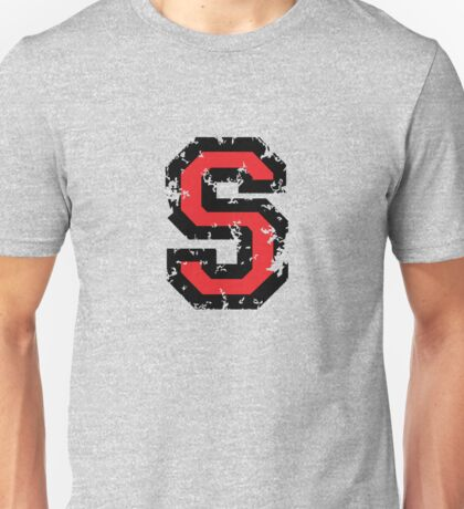 Letter S (Distressed) two-color black/red character Unisex T-Shirt