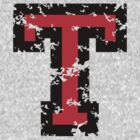 Letter T (Distressed) two-color black/red character by theshirtshops