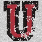 Letter U (Distressed) two-color black/red character by theshirtshops
