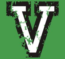 Letter V (Distressed) two-color black/white character Kids Clothes