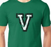 Letter V (Distressed) two-color black/white character Unisex T-Shirt