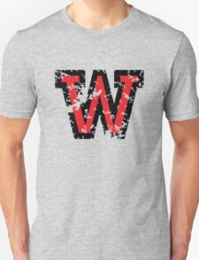 Letter W (Distressed) two-color black/red character T-Shirt
