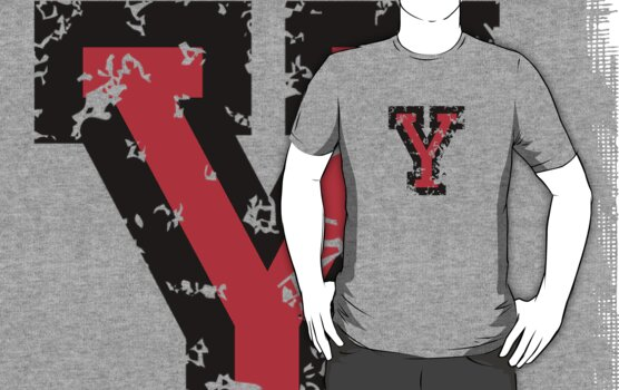 Letter Y (Distressed) two-color black/red character by theshirtshops