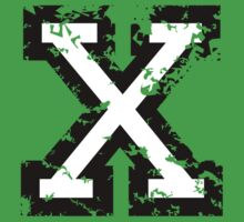 Letter X (Distressed) two-color black/white character by theshirtshops