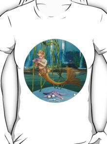 Little Mermaid holding Anemone Flower T-Shirt