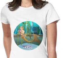 Little Mermaid holding Anemone Flower Womens Fitted T-Shirt