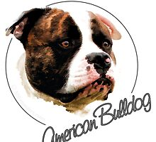 American Bulldog - Digital Art by nhvexelarts