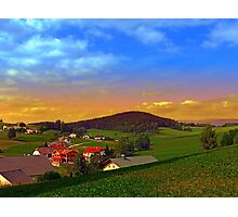 Small village skyline with sunset | landscape photography Photographic Print