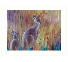 Kangaroos in Long Grass Art Print