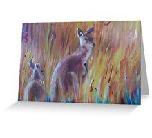 Kangaroos in Long Grass Greeting Card