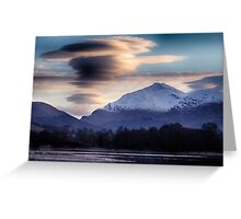Ben Lui topped with lenticular clouds above Greeting Card