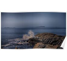 A large swell breaking on the coast at Easdale Poster