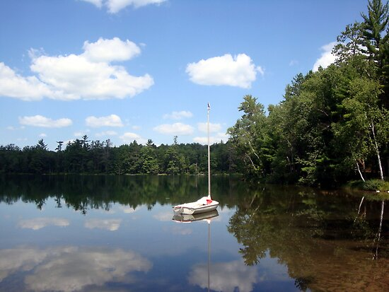 Sailboat on Glass Lake by Timothy  Ruf