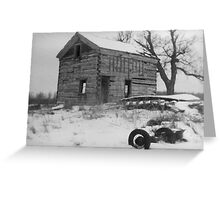 Log House and Tree in Snow Greeting Card