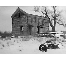 Log House and Tree in Snow Photographic Print