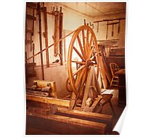 Old Wooden Treadle Lathe and Tools Vintage Poster