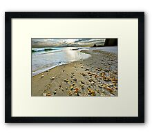 beach shells sunset print landscape art Framed Print