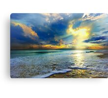 blue seascape art print skyscape sun rays landscape Canvas Print
