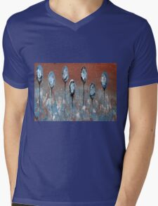 Abstract In Blue, Chamoisee and Wheat  Mens V-Neck T-Shirt