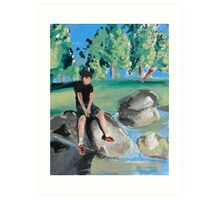 Boy on Rock in Pond Art Print