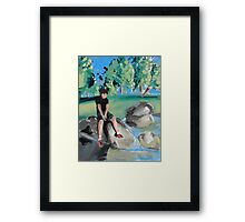 Boy on Rock in Pond Framed Print