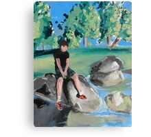 Boy on Rock in Pond Canvas Print