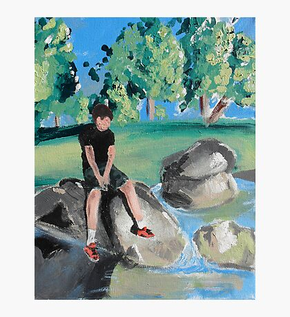 Boy on Rock in Pond Photographic Print