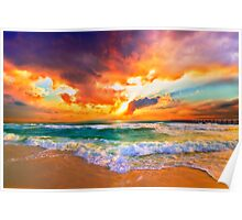 orange sunset print seascape landscape skyscape Poster