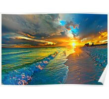 sunset seascape art print orange landscape Poster