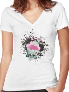 Molotov baker grunge cupcake paint bomb Women's Fitted V-Neck T-Shirt